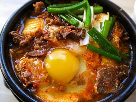 Bulgogi Kimchi tofu stew at Ahri's Kitchen.