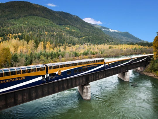 Rocky Mountaineer crosses the Fraser River near Cisco
