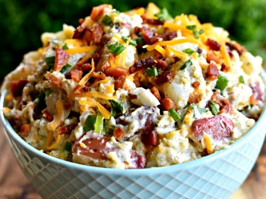Loaded Bacon Ranch Potato Salad is summertime fare.