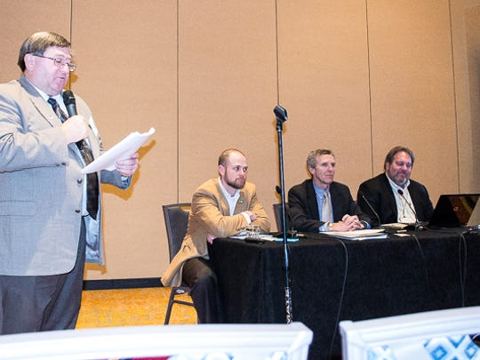 Richard Wilkins speaks during the American Soybean Association's Leadership College panel event.