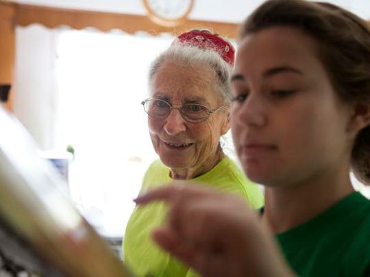 Katherine Humphrey, 80, looks over a soup recipe with