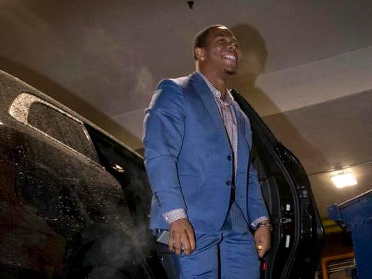 Former Baltimore Ravens NFL running back Ray Rice arrives for a hearing at a New York City office building