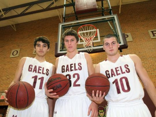 From left, Iona Prep basketball players, Ty Jerome, Matt Ryan and Tom Capuano are photographed at Ioan Prep in New Rochelle Nov. 25, 2014.