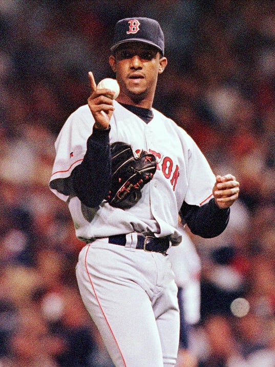 Boston Red Sox pitcher Pedro Martinez gestures to