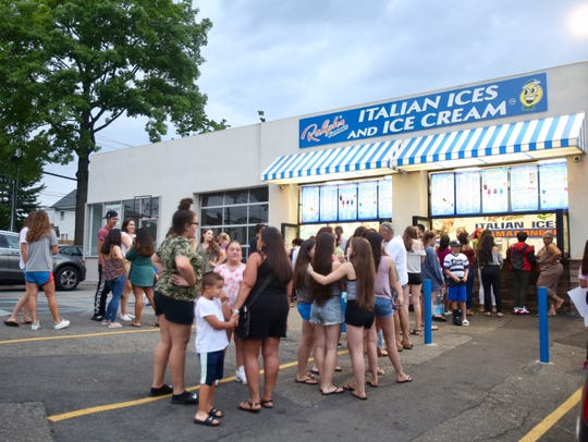 Local residents come out to get ices and ice cream