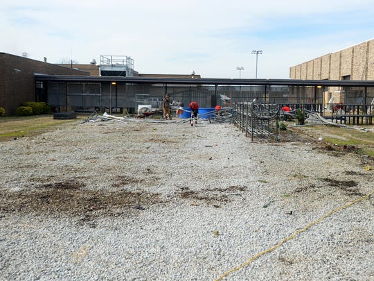 The greenhouse that once stood in this spot at Crockett County High School was destroyed by an EF-1 tornado that touched down Tuesday. The school district's insurance carrier has approved funds to build a new greenhouse to sit in this spot.