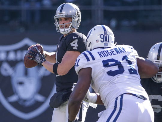 Derek Carr is down his top receiver, Amari Cooper, beginning Sunday vs. the Colts. Cooper was traded to the Cowboys earlier in the week.