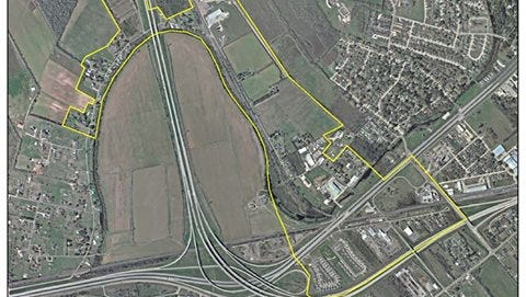 Map shows area (in yellow) affected by the water boil advisory issued by the city of Alexandria on Monday night. The affected area is in the vicinity of New York Avenue, where a water pipe was damaged, near the intersection of MacArthur Drive and Interstate 49.