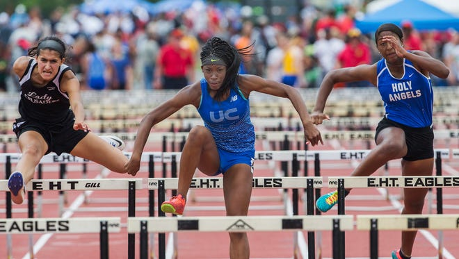 Union Catholic's Amaya Chadwick wins the Girls Non-Public A 100 hurdles at the State Groups 1, 4, and A Track & Field Championships at Egg Harbor, NJ on June 4, 2016.