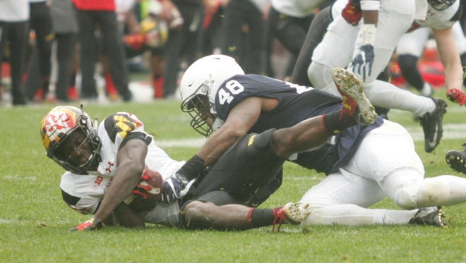 Penn State defensive lineman Shareef Miller, seen here in action last season against Maryland, is hoping to earn a starting defensive end spot with the Nittany Lions.