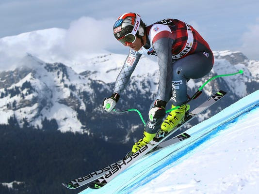 FILE - In a Thursday, Jan. 11, 2018 file photo, United States' Steven Nyman competes during an alpine ski, men's World Cup downhill training, in Wengen, Switzerland. U.S. Ski and Snowboard said Monday, Jan. 29 that three-time Olympian Steven Nyman will miss the Pyeonchang Games after tearing a ligament in his right knee.  (AP Photo/Alessandro Trovati, File)
