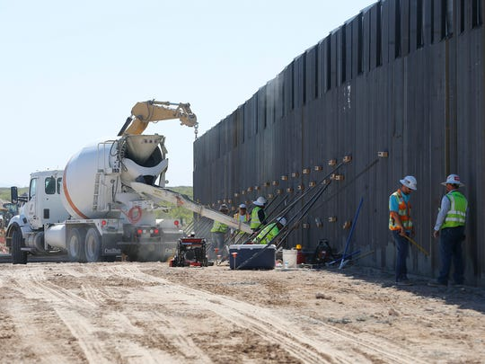 Crews worked last year to replace a piece of a bollard fence in Santa Teresa, New Mexico. The section is part of a 20-mile stretch of fence at the U.S.-Mexico border.