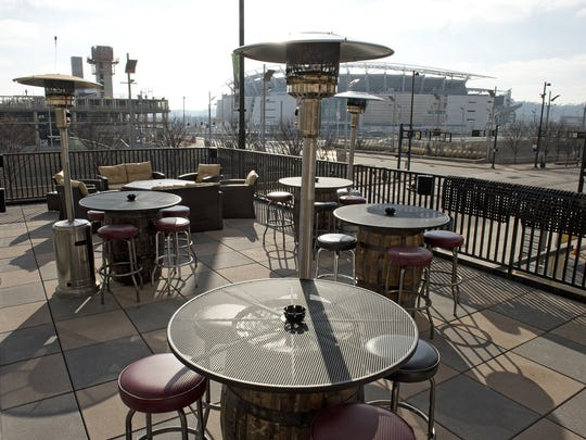 The Blind Pig's patio has an elevated view overlooking Third Street and Paul Brown Stadium and gas heaters for all-weather comfort.