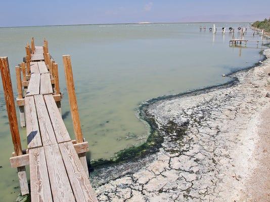 Salton Sea receding shoreline