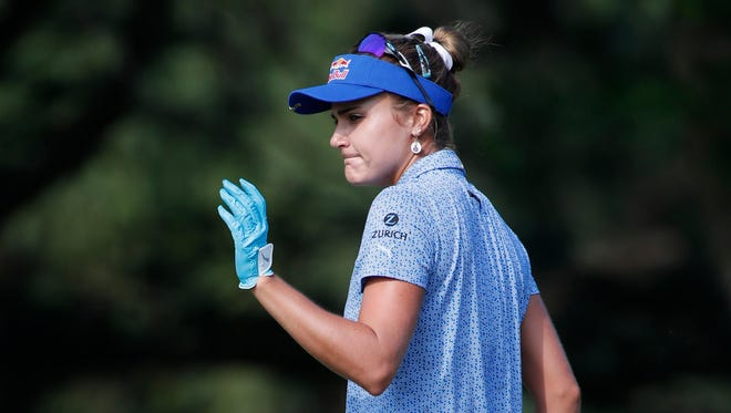 Lexi Thompson after making a birdie putt on the sixth green during the final round of the KPMG Women's PGA Championship golf tournament at Kemper Lakes Golf Club in June.