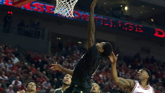 Mar 1, 2016; Lincoln, NE, USA; Purdue Boilermakers guard Johnny Hill (1) scores against the Nebraska Cornhuskers in the second half at Pinnacle Bank Arena. Purdue won 81-62. Mandatory Credit: Bruce Thorson-USA TODAY Sports