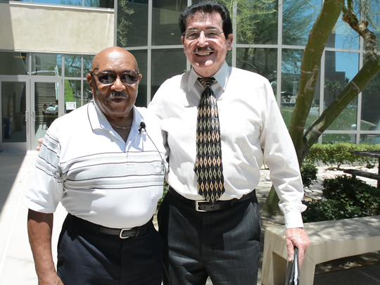 McCloud poses with his professor Dennis Larney at the