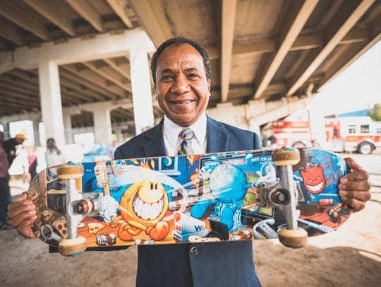 Mayor Dennis P. Williams held a ceremony in 2015 to celebrate the Wilmington skate park plans moving forward.