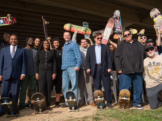 Former Mayor Dennis P. Williams held an event in the fall of 2015 to celebrate the Wilmington skate project moving forward. At the time, the project was not fully funded.