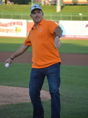 Howard Johnson throws out first pitch at FirstEnergy Park on Wednesday.