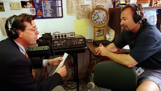 Sports talk radio hosts Marty Tirrell, left, and Ken Miller, pictured together in 1997, will be reuniting for another sports talk show in the near future, Miller confirmed. They were paired in 1996 and worked together until 2009.