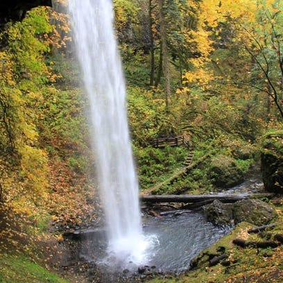 A trail leads behind 100-foot Shellburg Falls, located north of Mehama off Fernridge Road east of Salem off Highway 22.