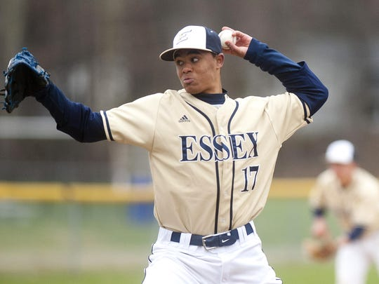 Essex pitcher Noah Baez fires to the plate during the