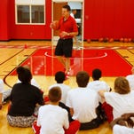 University of Louisville basketball coach Rick Pitino spoke to the kids at the Robbie Valentine basketball camp.  July 28, 2015.