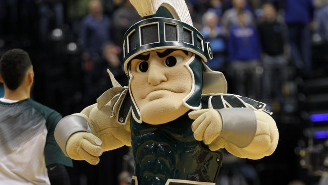 Sparty performs during the first half of the game against the Duke Blue Devils at Bankers Life Fieldhouse.