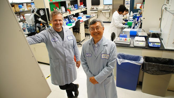 John Kolman (left), vice president of Translational Medicine for QPS Holdings, and T. Ben Hsu, chief administrative officer of QPS Holdings, are seen in one of the company's labs at the Delaware Technology Park. QPS is expanding its lab space and adding 31 new lab techs.