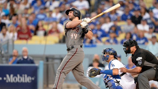 Oct 7, 2017: Arizona Diamondbacks first baseman Paul Goldschmidt (44) hits a 2-RBI home run during the first inning in game two of the 2017 NLDS against the Los Angeles Dodgers at Dodger Stadium.