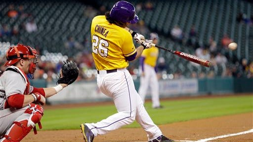 LSU's Chris Chinea (26) hit a home run against Tulane on Tuesday.