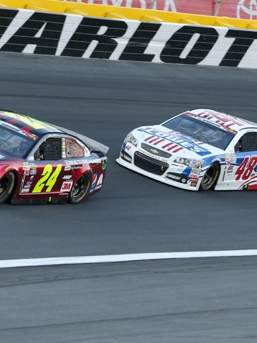 Jeff Gordon leads Hendrick Motorsports teammate Jimmie