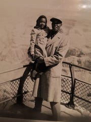 New York Giants player Monte Irvin and his daughter,