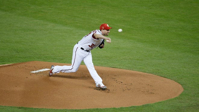 National League's Washington Nationals pitcher Max Scherzer (31), throws during the first inning at the MLB baseball All-Star Game, Tuesday, July 11, 2017, in Miami.