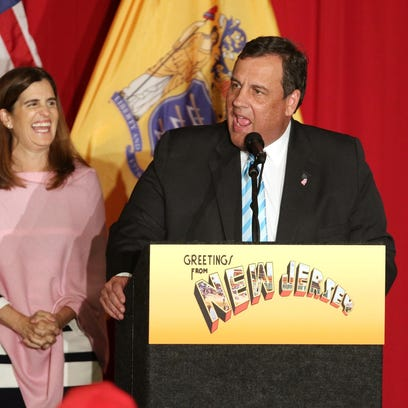 New Jersey Governor Chris Christie, right, and First Lady Mary Pat Christie before the governor introduced Donald Trump at a $200-per-head rally at the National Guard Armory in Lawrence Township on May 19, 2016.