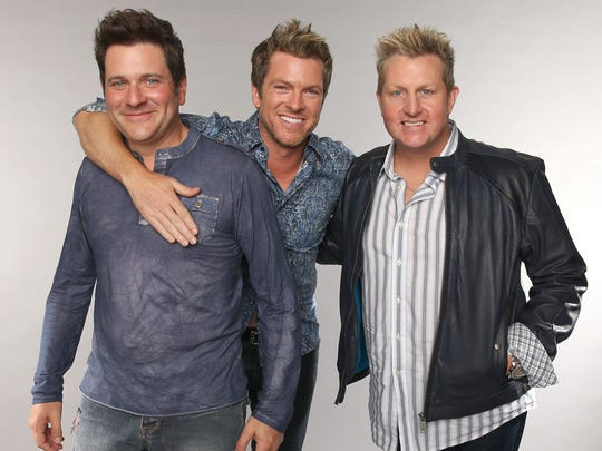 Rascal Flatts (from left, Jay DeMarcus, Joe Don Rooney and Gary LeVox) will perform at Klipsch Music Center.