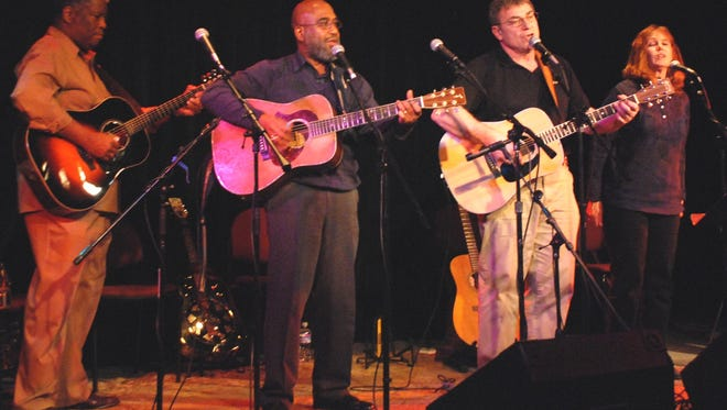 During a previous performance are Lost Voices musicians the Rev. Robert Jones, Josh White, Jr., Mike Ball and Kitty Donohoe.