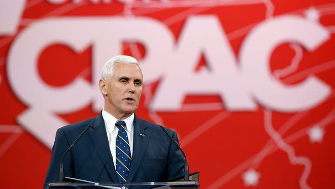 Indiana Gov. Mike Pence speaks at the Conservative Political Action Conference on Feb. 27, 2015 in National Harbor, Md.