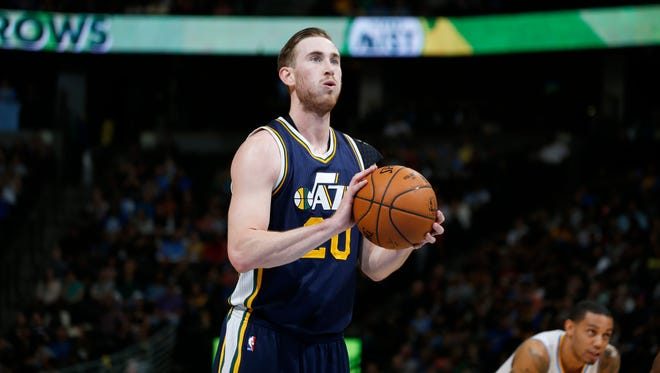 Utah Jazz guard Gordon Hayward takes a free throw shot against the Denver Nuggets in the third quarter of an NBA game Friday, March 27, 2015, in Denver. The Nuggets won 107-91.