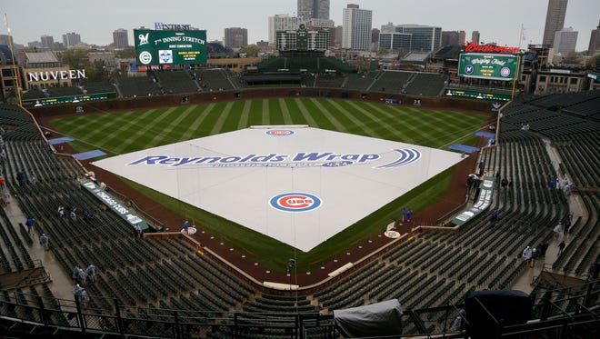 Wrigley Field with the tarp on the field on April 27.