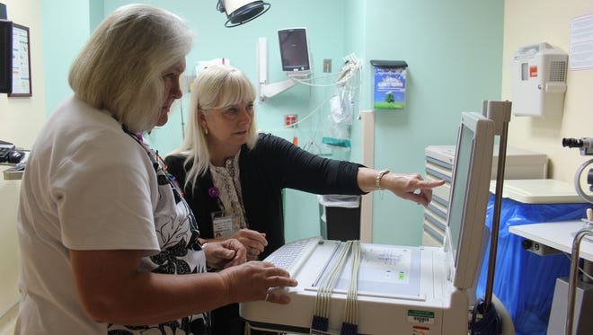 From left, Jan Call, director of Mesa View Regional Hospital's emergency department, and Chief Nursing Officer Nancy Seck study patient results on an electrocardiogram (EKG). MVRH received a prestigious chest pain center accreditation from the Society of Cardiovascular Patient Care.