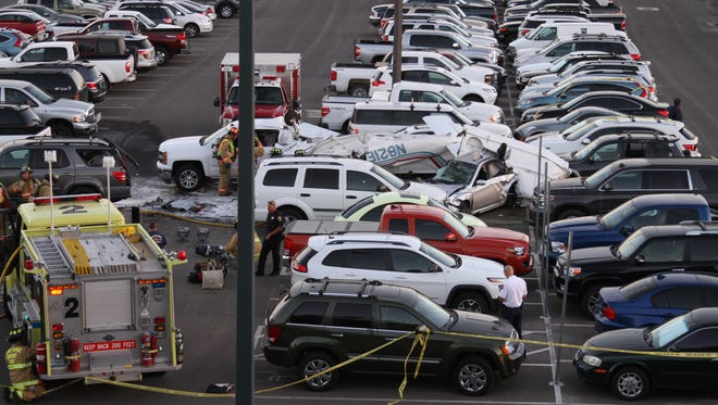 A small single-engine airplane crashed into the Reno-Tahoe International Airport surface lot on Sept. 11.