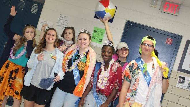Beach day:Before the day even began, these seniors threw a beach party at the end of senior hall.