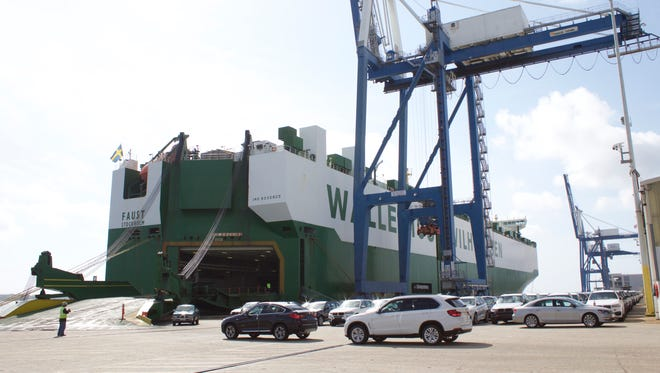 BMWs manufactured in Greer, S.C., roll onto a Europe-bound ship docked at an SC Ports facility in Charleston.