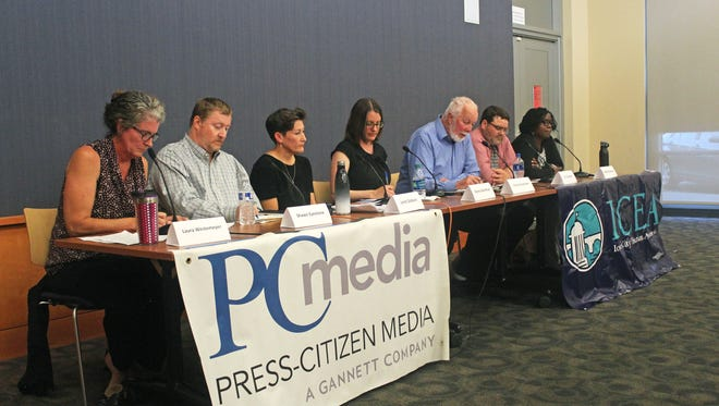 Candidates in the Sept. 12, 2017, Iowa City Community School Board race took questions during a forum organized by the Iowa City Education Association and Iowa City Press-Citizen at the Iowa City Public Library on Aug. 29, 2017.