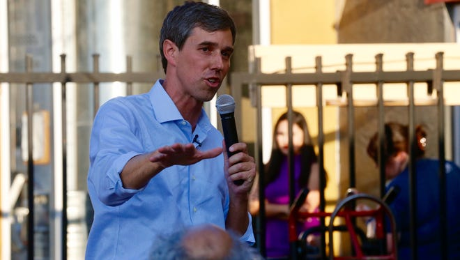 """Congressman Beto O'Rourke addresses supporters that came out to his """"Rally for Relief,"""" held at Ode Brewery Thursday night after touring Texas for the past 34 days."""