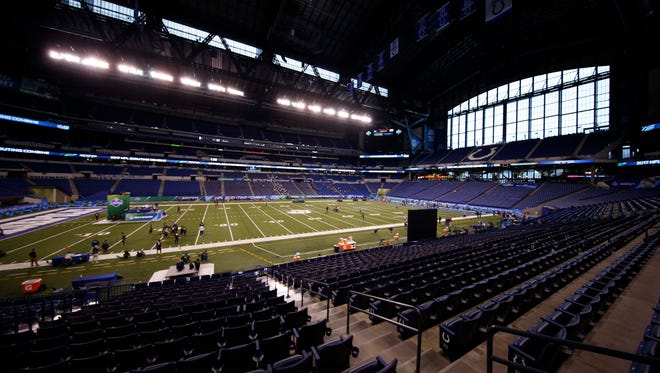 A general wide angle view of Lucas Oil Stadium