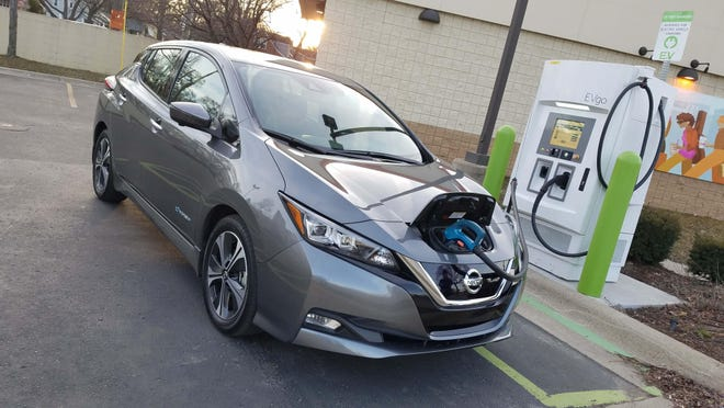 Fast chargers, like this one in Ferndale, can replenish the Leaf's 40-kWh battery to 80 percent in 45 minutes — but they are hard to find in Metro Detroit.