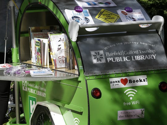The Plainfield-Guilford Township Public Library introduces its rolling library this summer. The book bike will bring books, library cards and Wi-Fi to people at special events.